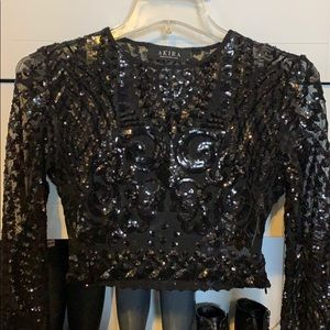 Anita Black beaded long sleeve crop top